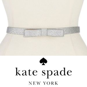 Kate Spade Micro Glitter Bow Belt Large NWT Silver